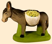 DONKEY CARRYING  BASKETS OF MIMOSAS